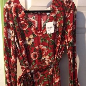 Floral Dress With Slanted Bell Sleeves